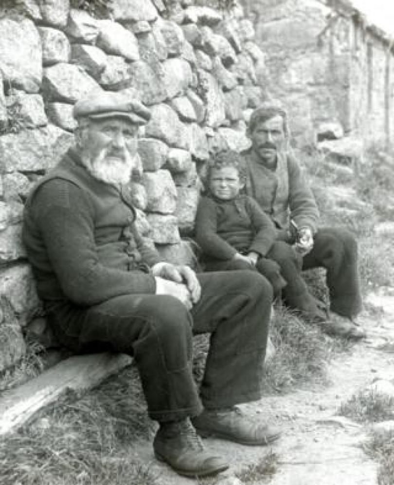 Finlay Gillies, the oldest resident on St Kilda at 74, with his son and grandson