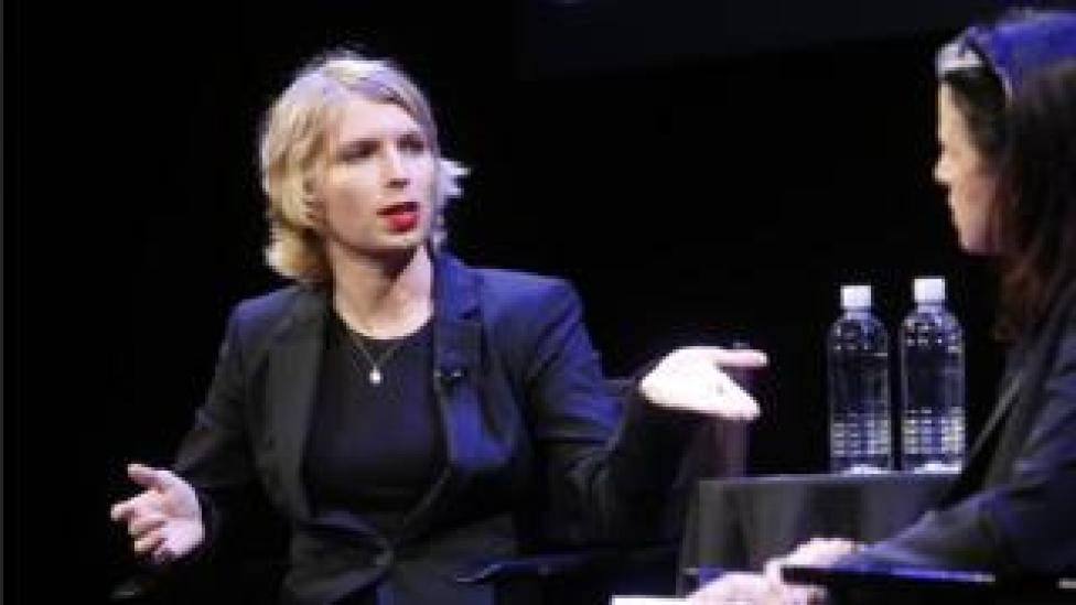 Chelsea Manning, pictured being interviewed on stage at New Yorker Festival event in September 2017