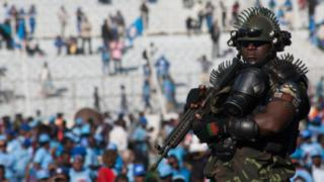 A soldier at Malawi President Peter Mutharika swearing-in ceremony on Tuesday 28 May 2019