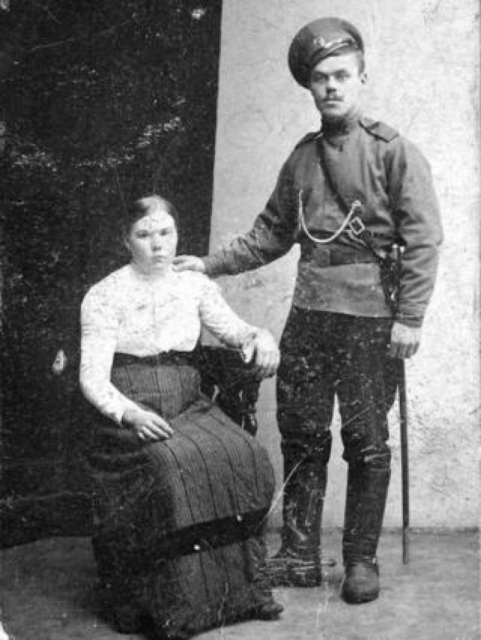 Fyodor Oparin con su esposa, Marina