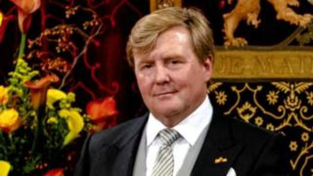"""Dutch King Willem-Alexander delivers his speech from the throne next to Queen Maxima sitting in the Ridderzaal (Knights"""" Hall) in The Hague, The Netherlands, 18 September 2018,"""