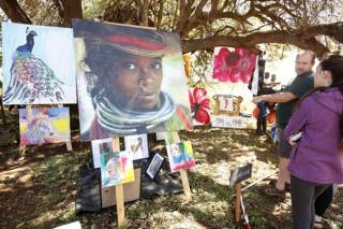 An artwork on display during the Harare International Festival of the Arts (HIFA) in Zimbabwe, shown on 2 June. HIFA is a 6-day annual festival of theatre, dance, music, circus, street performance, fashion and visual arts.
