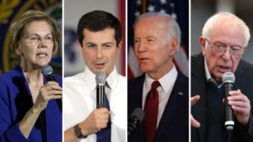 Composite image of Warren, Buttigieg, Biden, Sanders