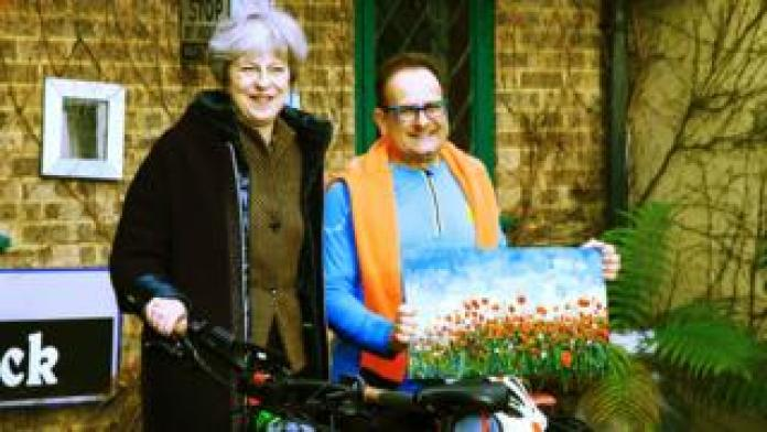 Timmy Mallett with Theresa May