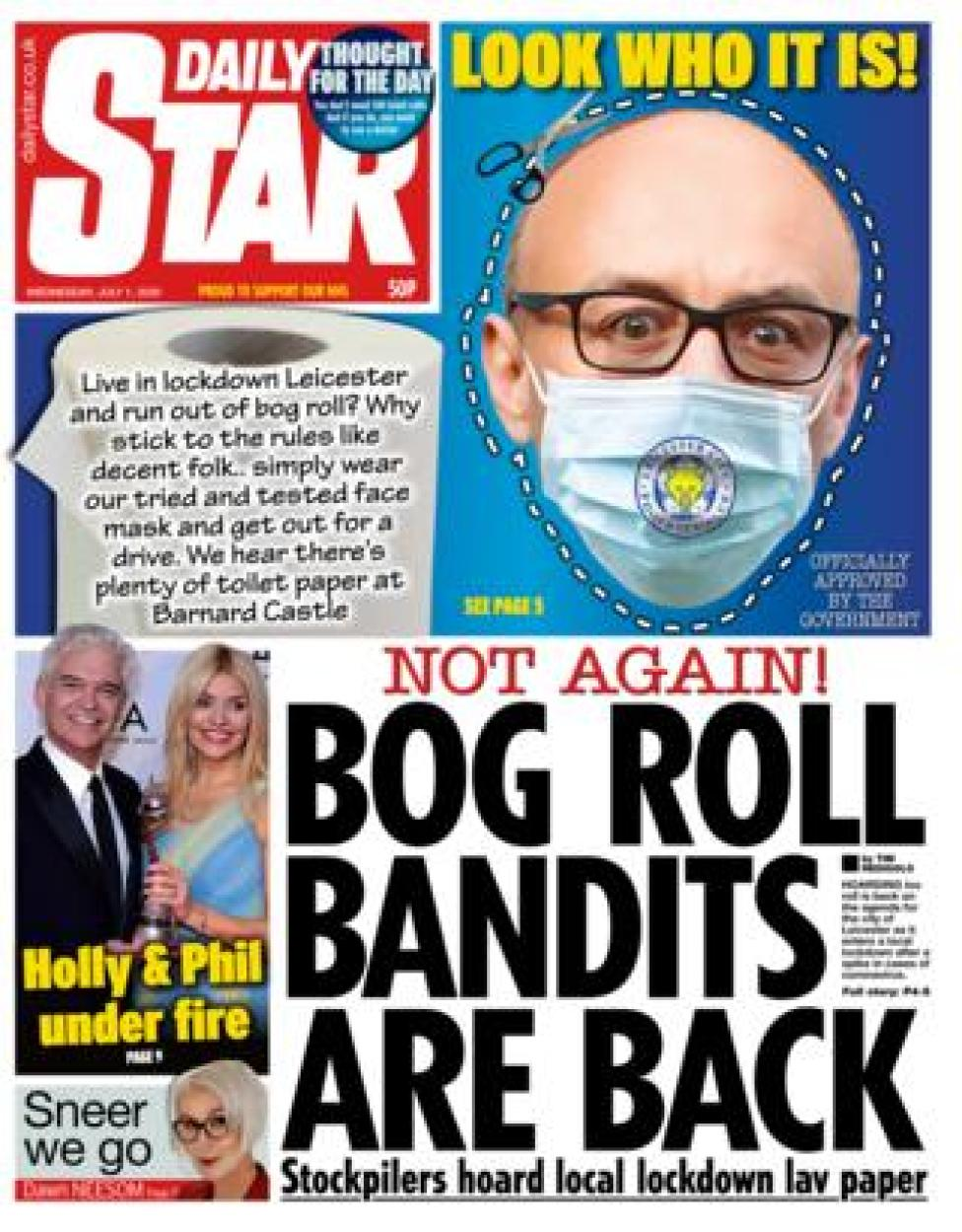Daily Star front page 01.07.20