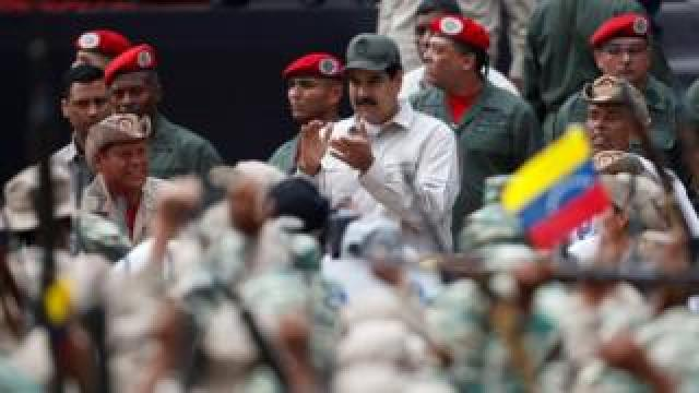 Venezuela's President Nicolás Maduro takes part in a ceremony to mark the 17th anniversary of the return to power of late President Hugo Chávez after a coup attempt and the National Militia Day in Caracas, Venezuela April 13, 2019