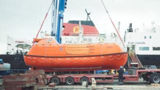 lifeboat on low loader