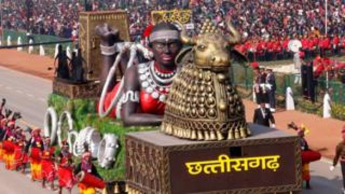A float from Chhattisgarh state is displayed during India's Republic Day parade in New Delhi, India, 26 January.