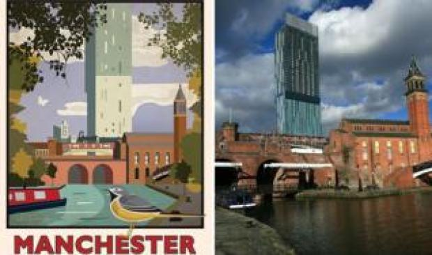 Beetham Tower in the poster and in a photo