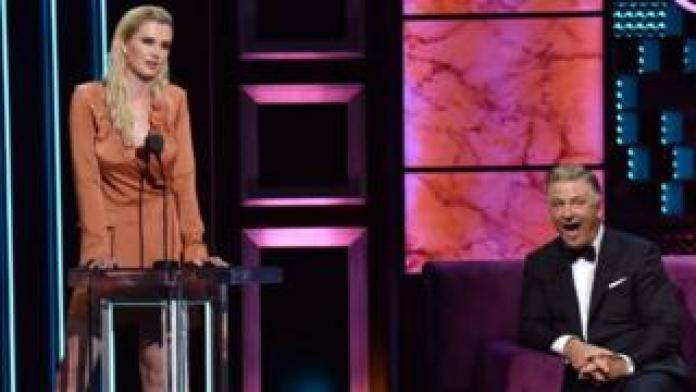 Ireland Baldwin roasts Alec Baldwin onstage