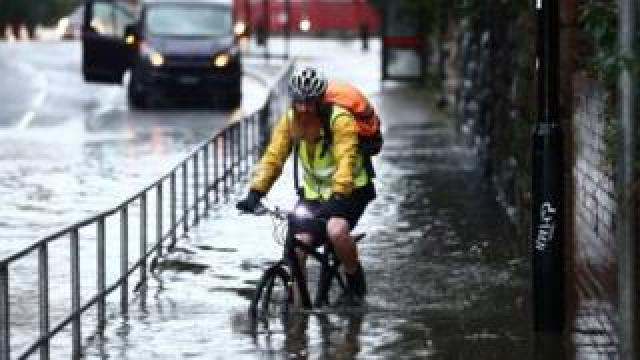 Man on bicycle in Sheffield