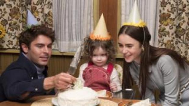 Zac Efron as Ted Bundy, along with daughter and wife celebrating birthday