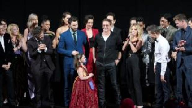 Avengers cast on-stage