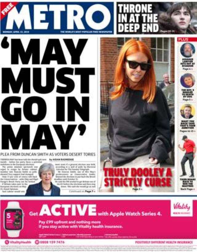 Metro front page, 15/4/19