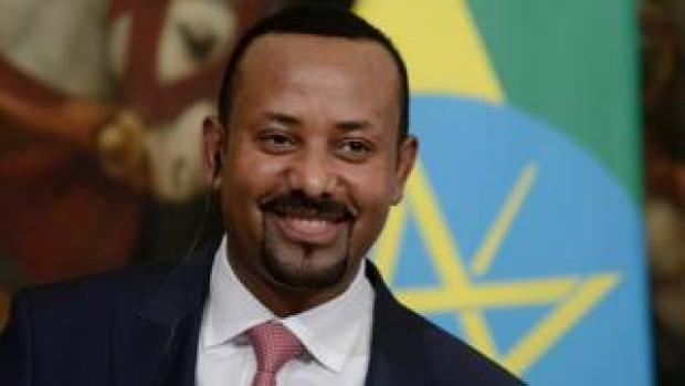Prime Minister Abiy Ahmed Ali at a meeting in Rome