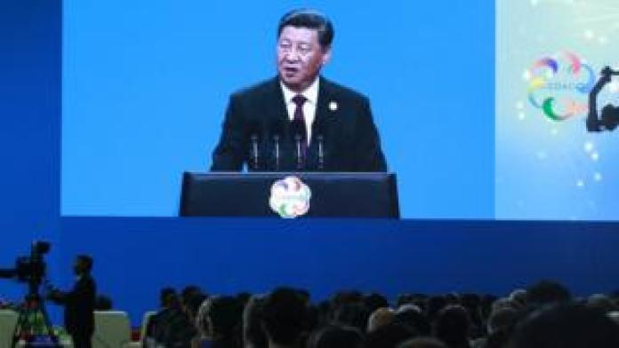 Chinese President Xi Jinping delivers his speech during the opening ceremony of the Conference on Dialogue of Asian Civilizations in Beijing
