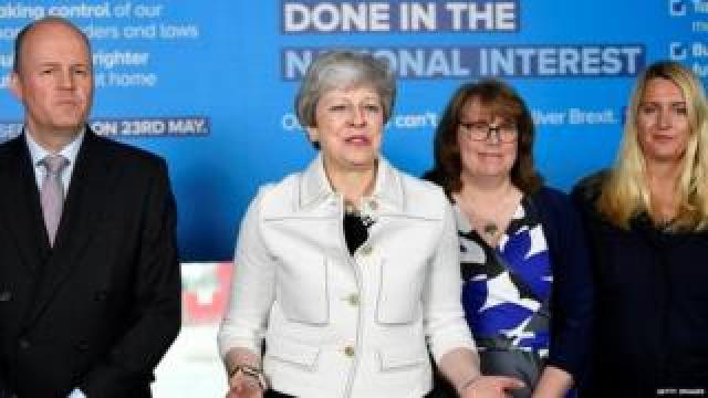 Theresa May speaking alongside Conservative European election candidates in Bristol