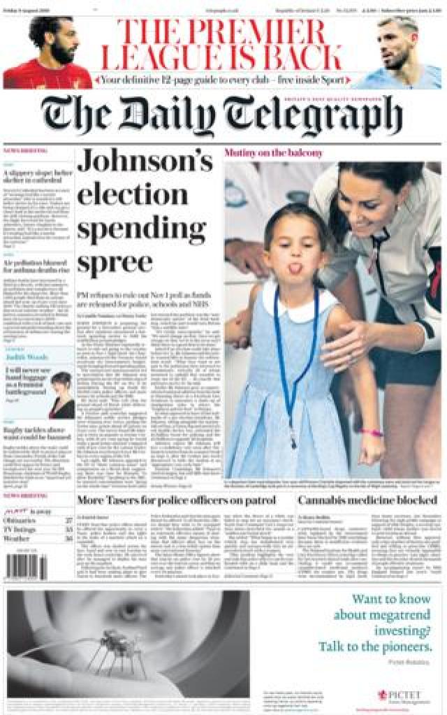 Front page of the Daily Telegraph