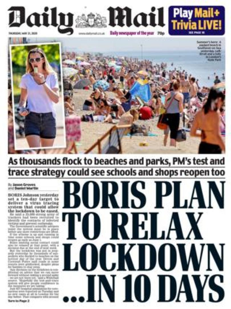 The Daily Mail front page 21/05/20