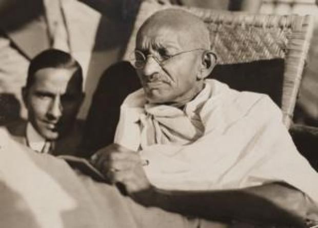 Mahatma Gandhi pictured on board the SS 'Rajputana' in 1931