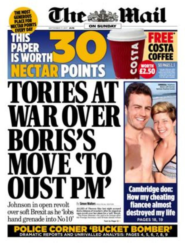 The Mail on Sunday front page 17/09/2017