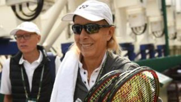 Martina Navratilova on the eighth day of the 2018 Wimbledon Championships on July 10, 2018
