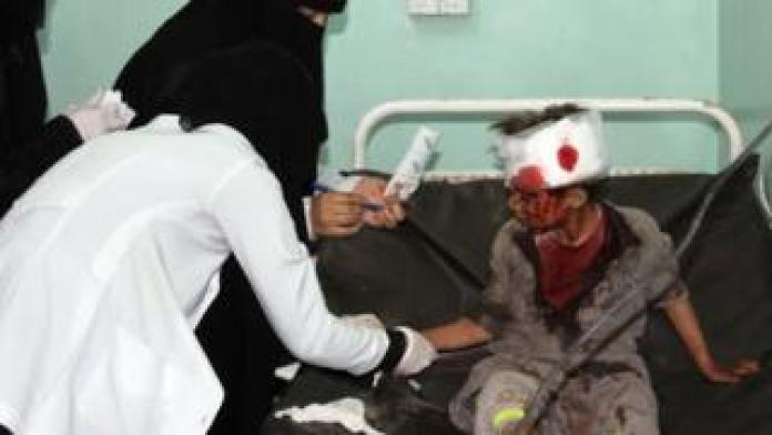 A Yemeni boy receiving treatment in hospital