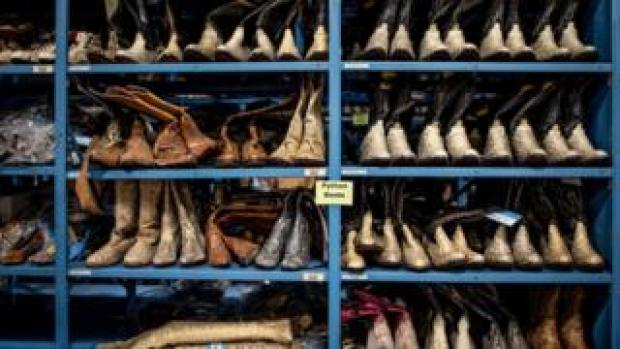 Shelves of python boots