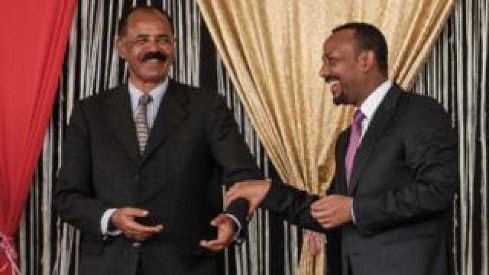 Eritrea's leader, Isaias Afewerqi, and Ethiopian Prime Minister Abiy Ahmed