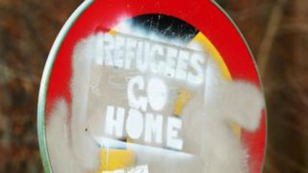 Sign saying 'Refugees go home'