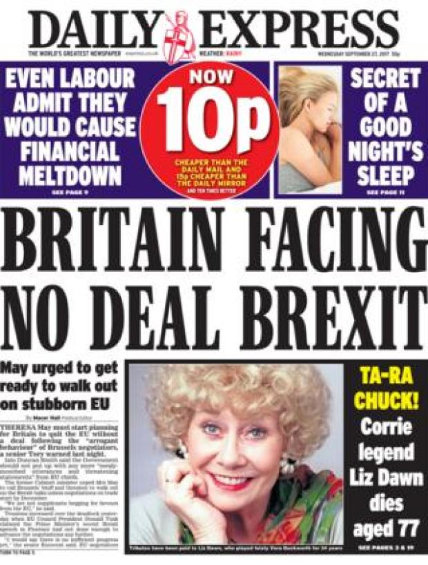 Daily Express front - 27/9/17