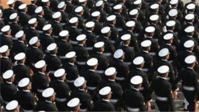 India's Coast Guard Marching Contingent marches during the 71st Republic Day celebrations in New Delhi, India, 26 January 2020.