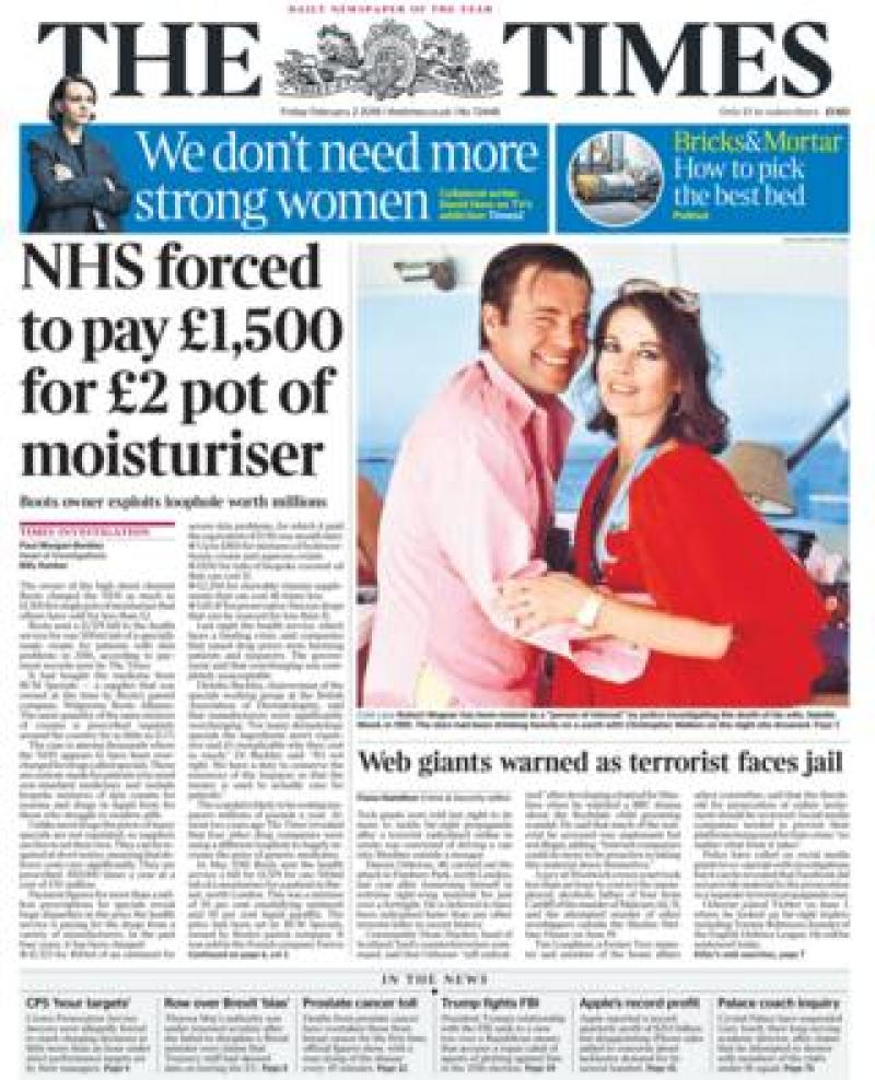 Times front page - 02/02/18