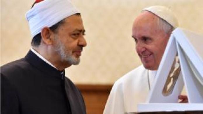 Pope Francis and Sheikh of Al-Azhar
