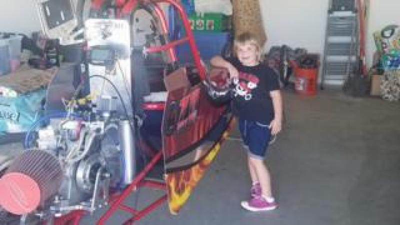 Adeline, 6, with her junior drag racer
