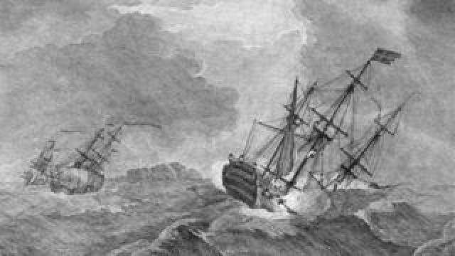 An engraving of the 1744 sinking of the Victory by artist Peter Monamy and engraver Pierre Charles Canot published in 1744/5