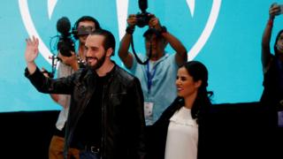 Nayib Bukele and his wife Gabriele de Bukele greet supporters in San Salvador, El Salvador, 3 February 2019