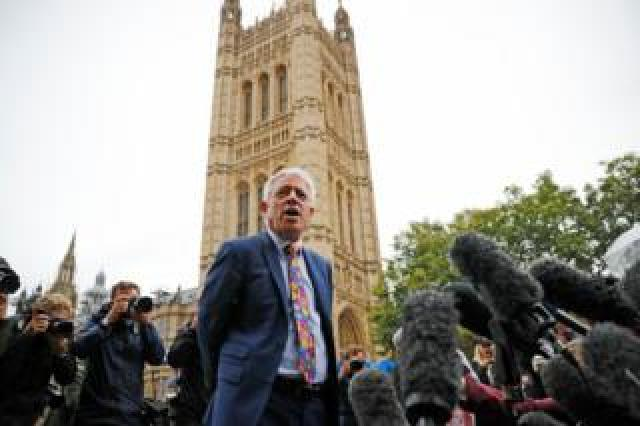 Speaker of the House of Commons John Bercow speaks to the media outside the Houses of Parliament