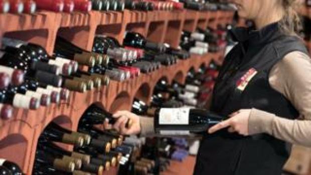 Wine racks in a shop, Tain-l'Hermitage, France, 25 Jul 18