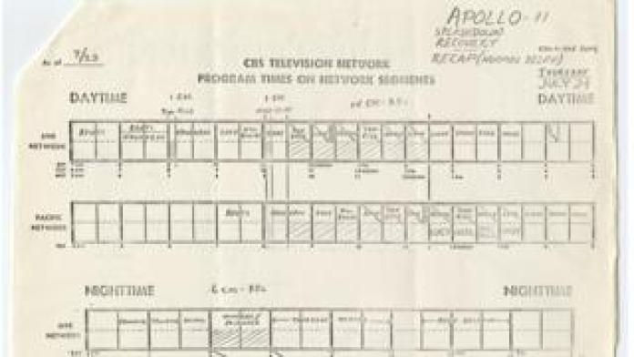 CBS memo with news schedule outlining coverage around Apollo 11's return to Earth.