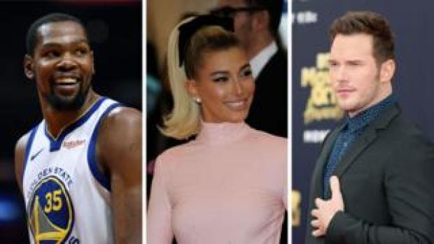 Kevin Durant, Hailey Baldwin and Chris Pratt