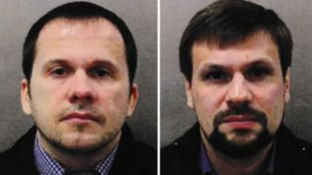 Composite of suspects Alexander Mishkin (aka Alexander Petrov) and Anatoliy Chepiga (aka Ruslan Boshirov). Issued 05 Sept 2018