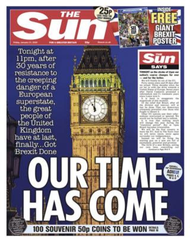 Friday's Sun front page