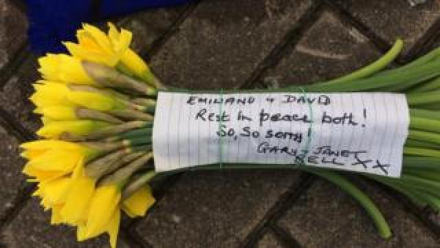 Tribute on a bunch of daffodils
