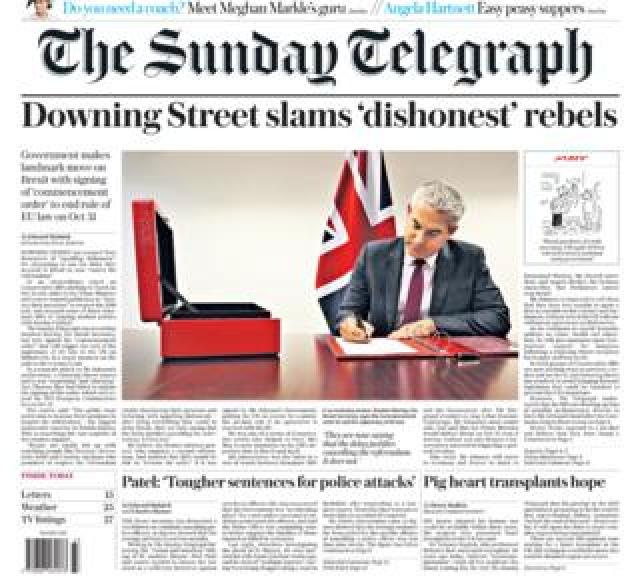 Front page of the Sunday Telegraph