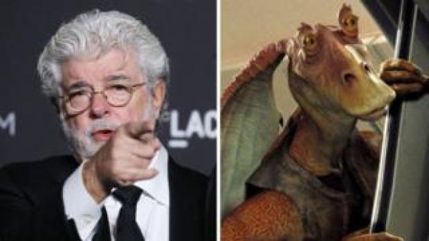 George Lucas and Jar Jar Binks