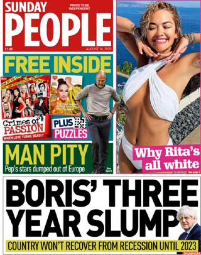 The front page of the Sunday People August 16, 2020