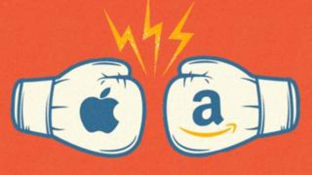 Apple and Amazon boxing gloves clash