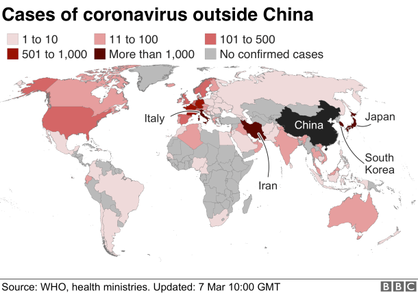 Cases of coronavirus reported outside China