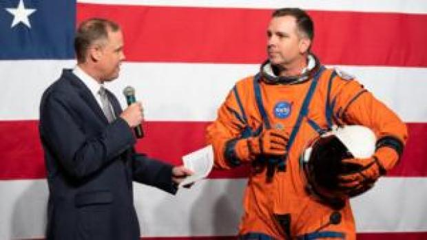 Nasa project manager Dustin Gohmert demonstrated the Orion Crew Survival System